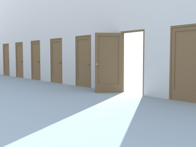 row of doors with one open