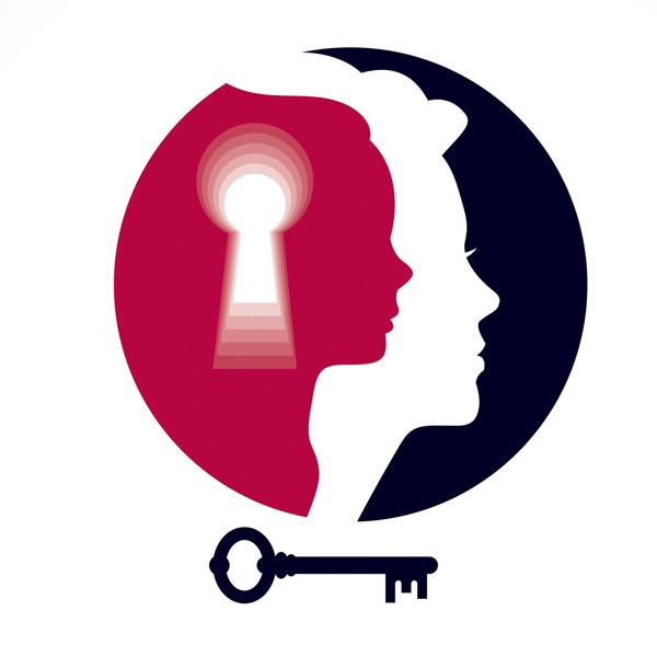 silhouettes of a child and adult head with a key hole and key underneath - inner child
