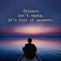 man sitting on a boat - wording: silence isn't empty, it's full of answers.