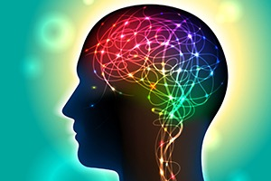 head with colored brain - brainspotting - complementary therapies