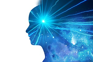 head with electricity - mindfulness and meditation therapy